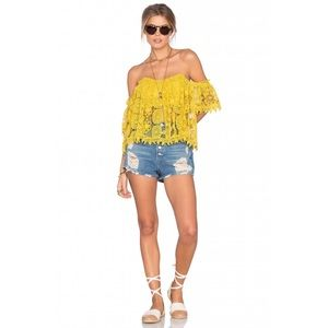 Tularosa Amelia Off-the-Shoulder Crochet Lace Top